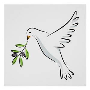 Dove and olive branch